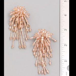 Pink Linen firework champagne earrings
